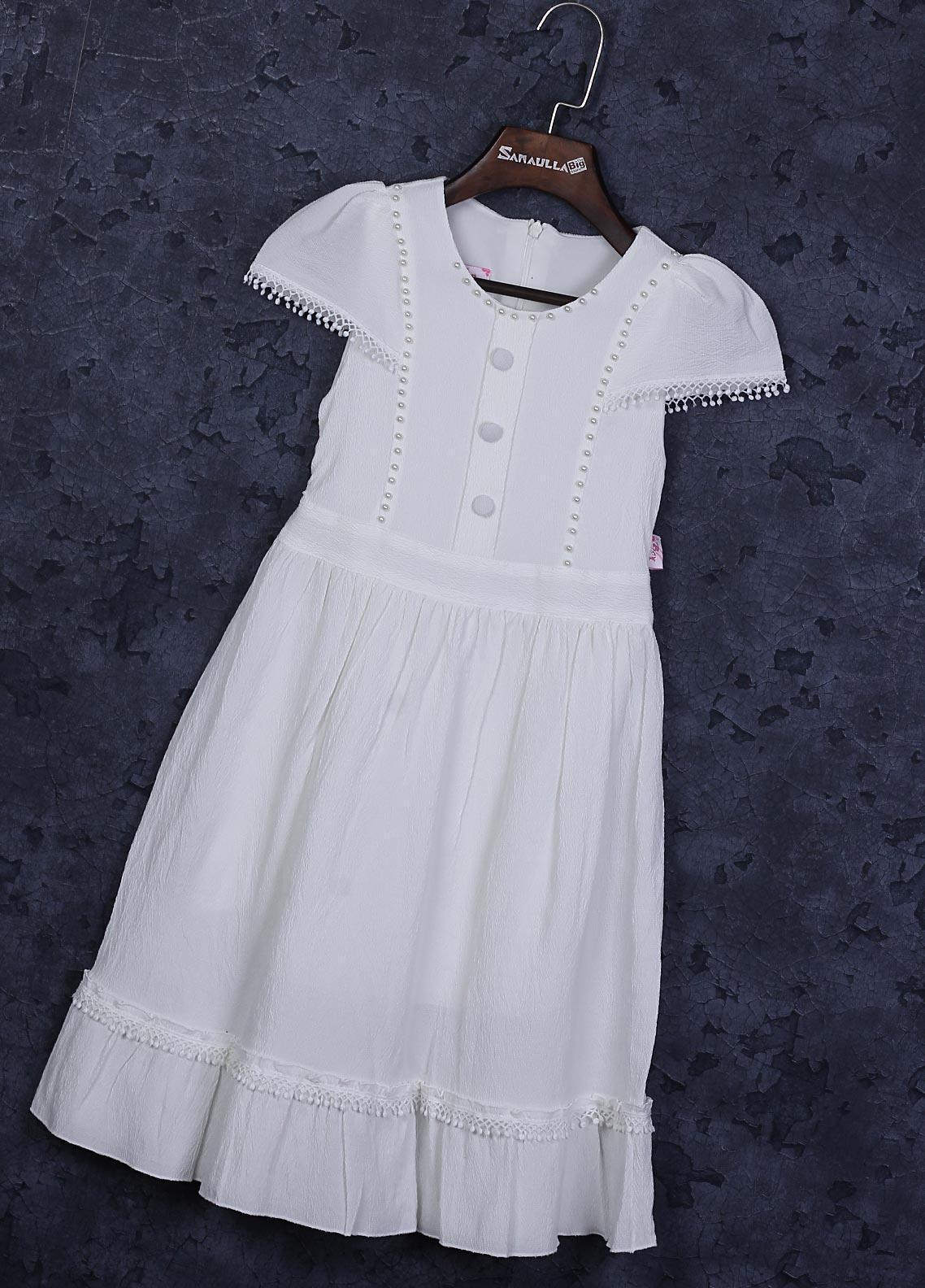 Sanaulla Exclusive Range Cotton Fancy Girls Frocks -  22665-1 White