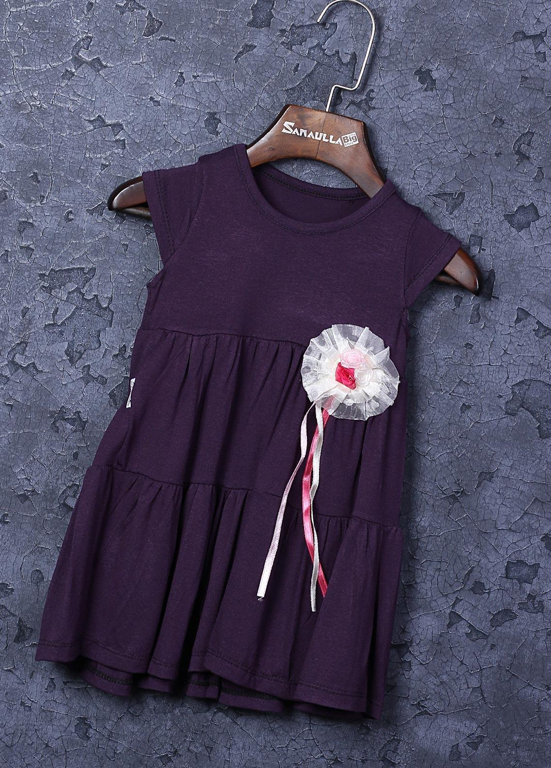 Sanaulla Exclusive Range Cotton Fancy Girls Frocks -  22707-1 Purple