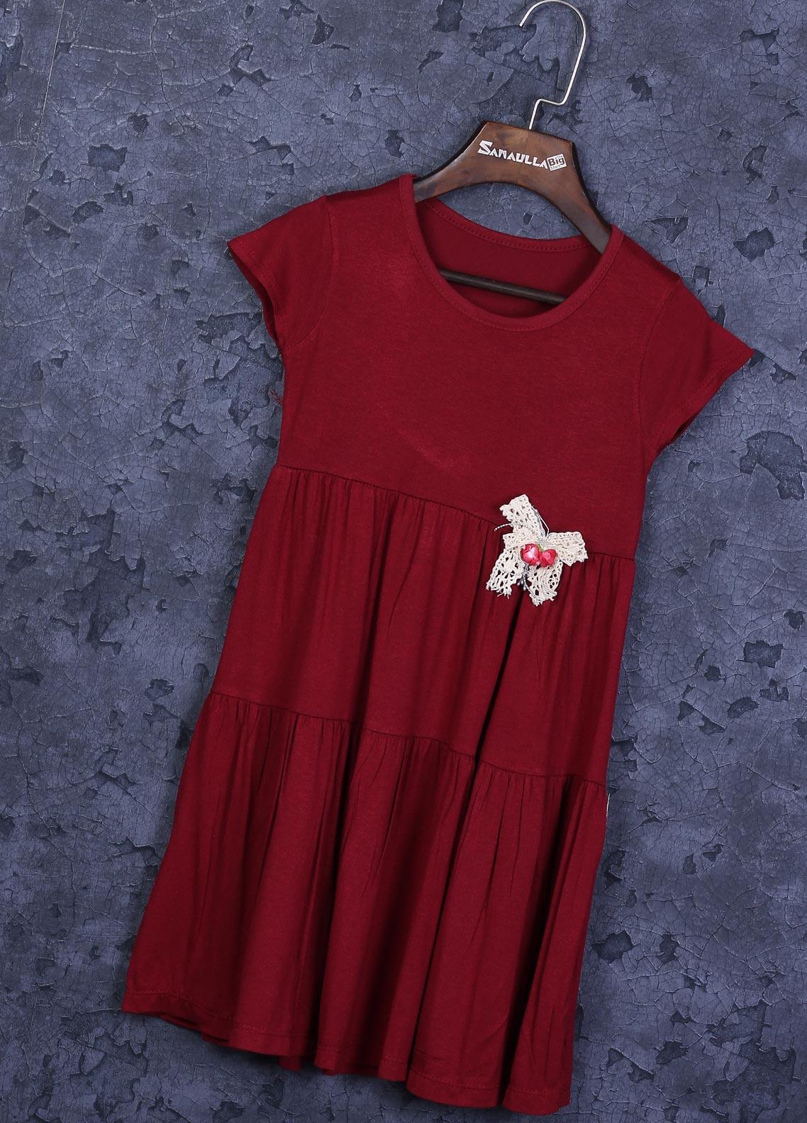 Sanaulla Exclusive Range Cotton Fancy Frocks for Girls -  22772-1 Maroon