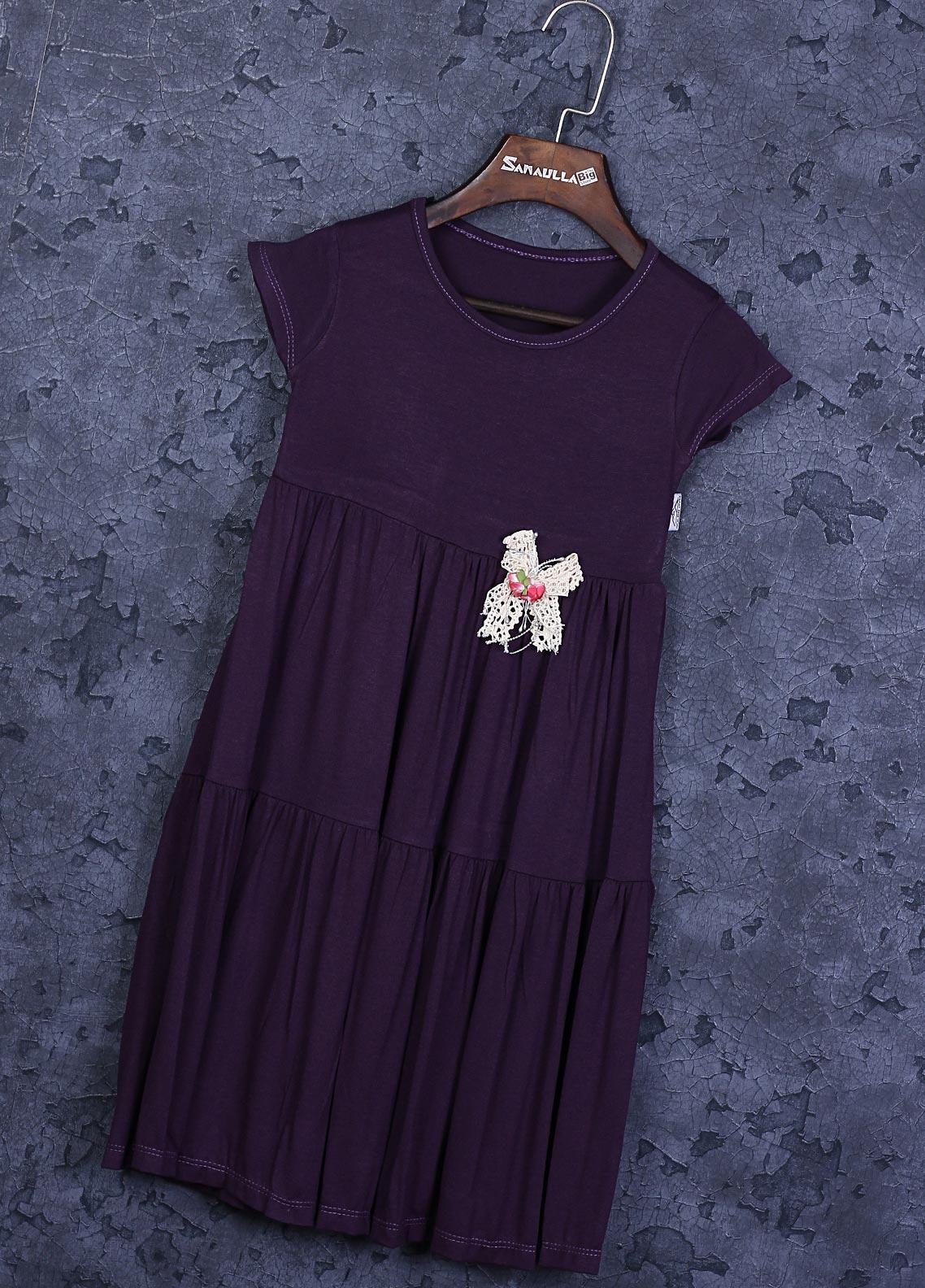 Sanaulla Exclusive Range Cotton Fancy Girls Frocks -  22772 Purple