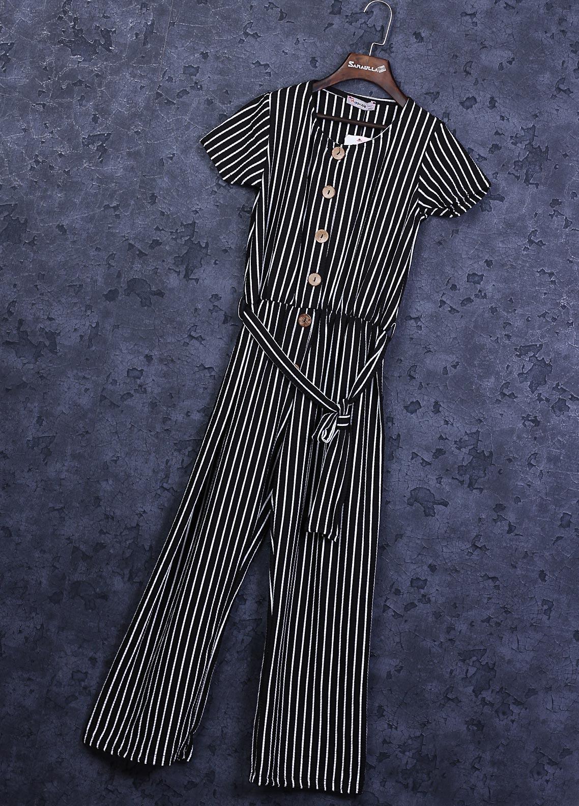 Sanaulla Exclusive Range Crepe Fancy Girls Maxi -  22927 Black