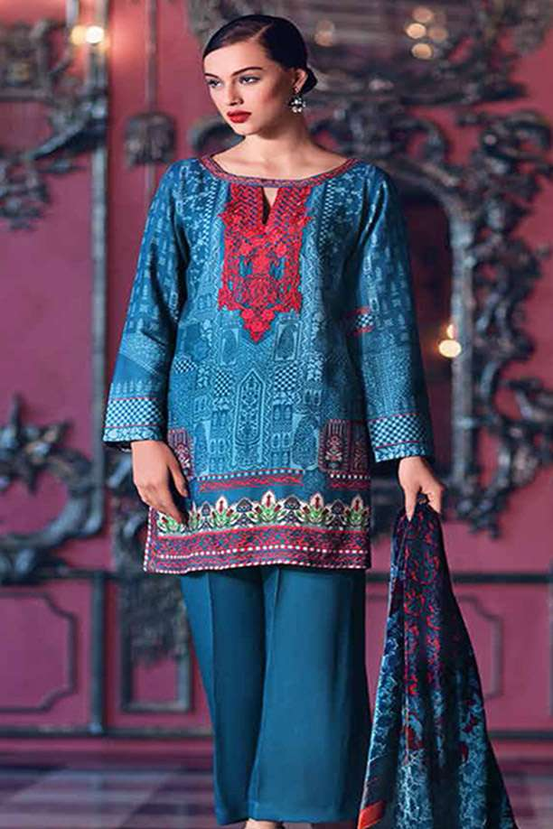 Gul Ahmed Embroidered Velvet Unstitched 3 Piece Suit GL17W2 VL62