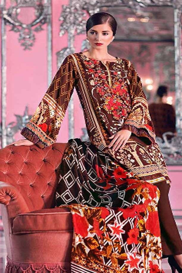 Gul Ahmed Embroidered Velvet Unstitched 3 Piece Suit GL17W2 VL71