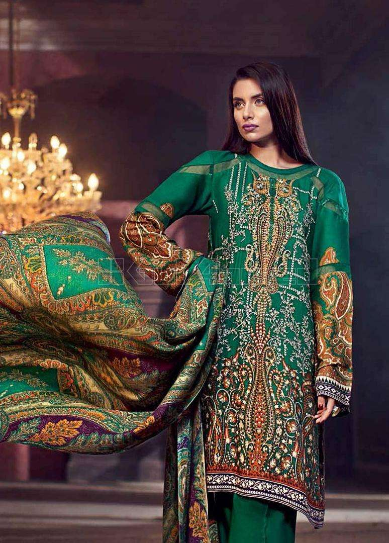 Gul Ahmed Embroidered Linen Unstitched 3 Piece Suit GL17W AP6