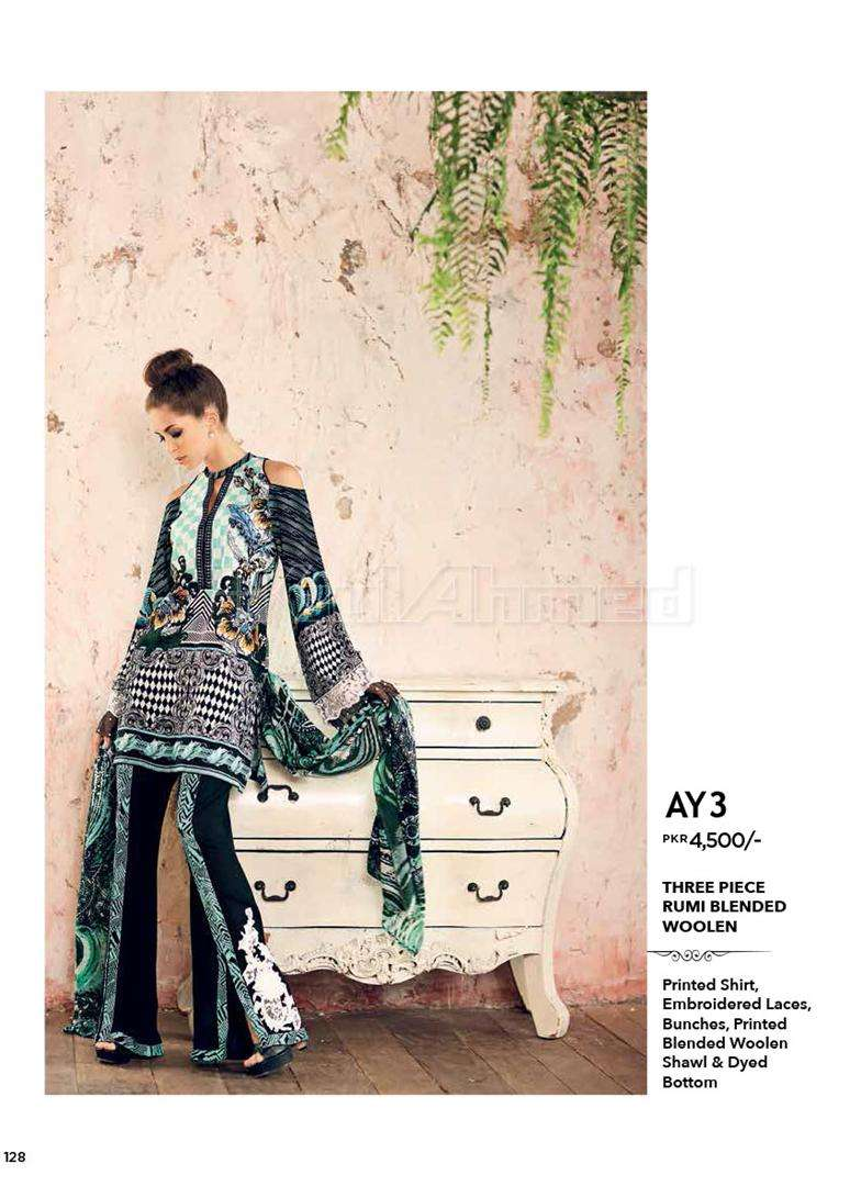 Gul Ahmed Embroidered Linen Unstitched 3 Piece Suit GL17W AY3