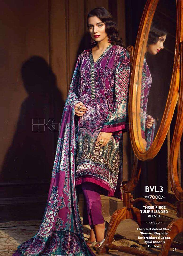 Gul Ahmed Embroidered Linen Unstitched 3 Piece Suit GL17W BVL3