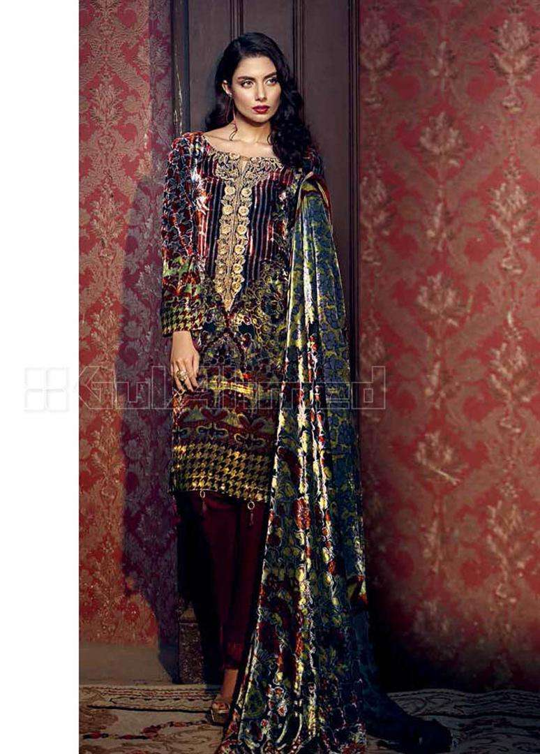 Gul Ahmed Embroidered Velvet Unstitched 3 Piece Suit GL17W BVL6