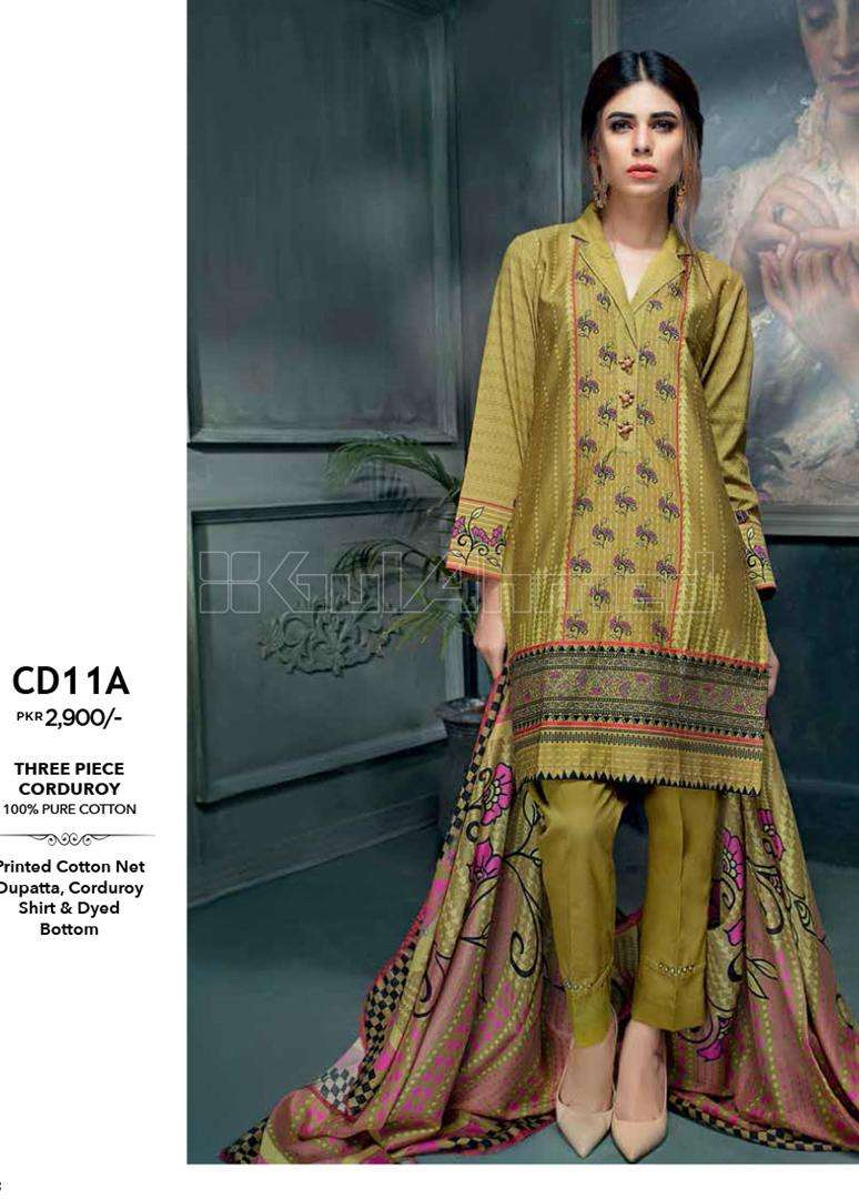 Gul Ahmed Embroidered Linen Unstitched 3 Piece Suit GL17W CD11A