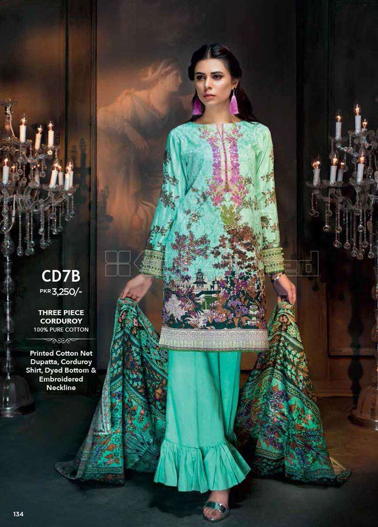 Gul Ahmed Embroidered Linen Unstitched 3 Piece Suit GL17W CD7B