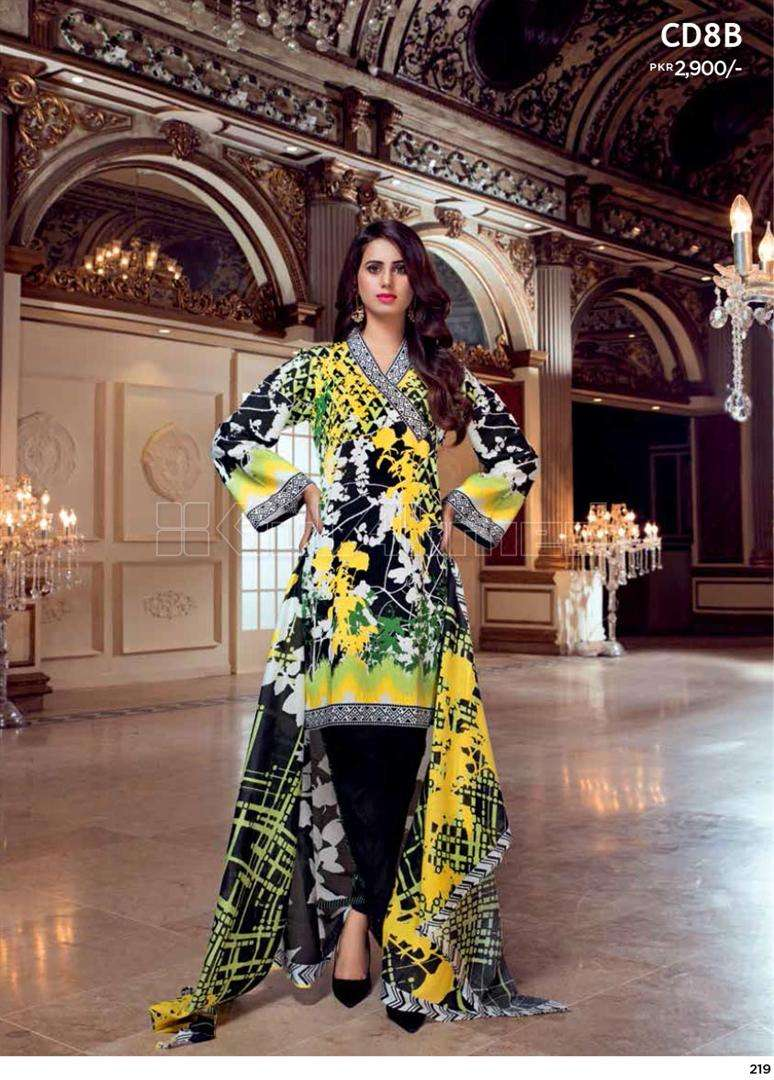 Gul Ahmed Embroidered Linen Unstitched 3 Piece Suit GL17W CD8B