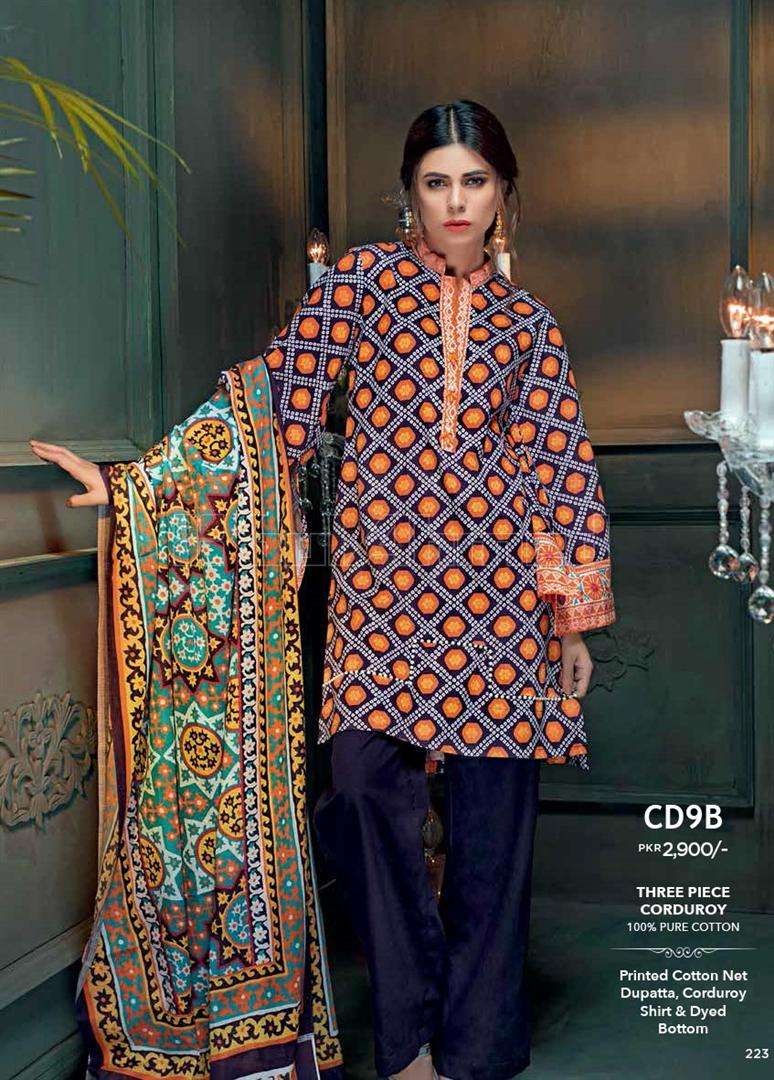 Gul Ahmed Printed Corduroy Unstitched 3 Piece Suit GL17W CD9B