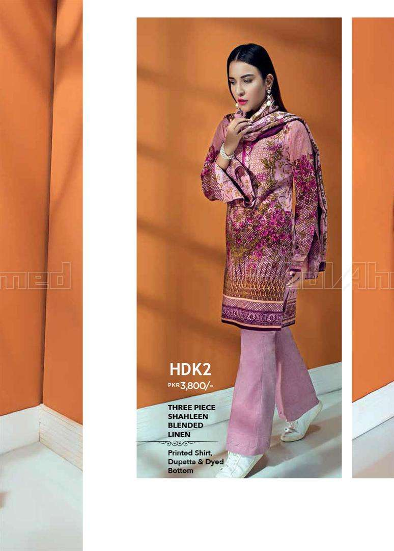 Gul Ahmed Embroidered Linen Unstitched 3 Piece Suit GL17W HDK2