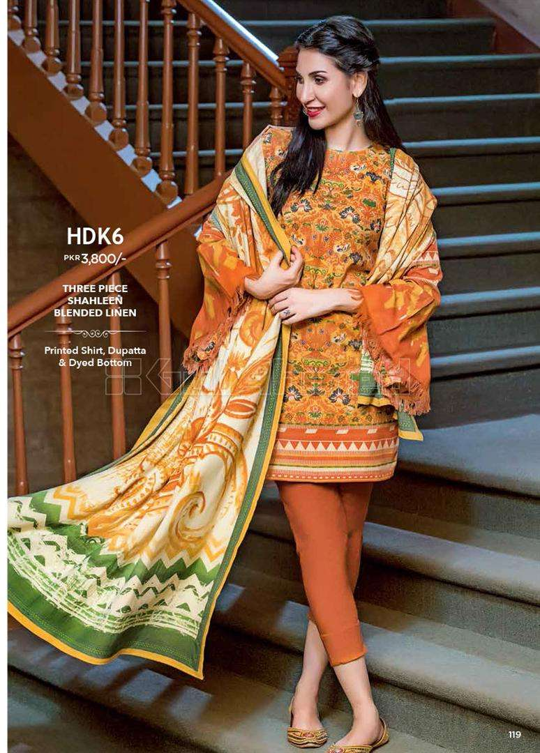 Gul Ahmed Embroidered Linen Unstitched 3 Piece Suit GL17W HDK6