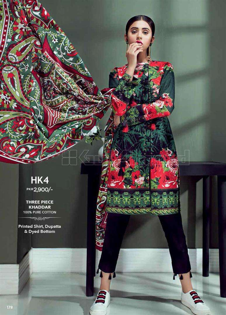 Gul Ahmed Embroidered Linen Unstitched 3 Piece Suit GL17W HK4