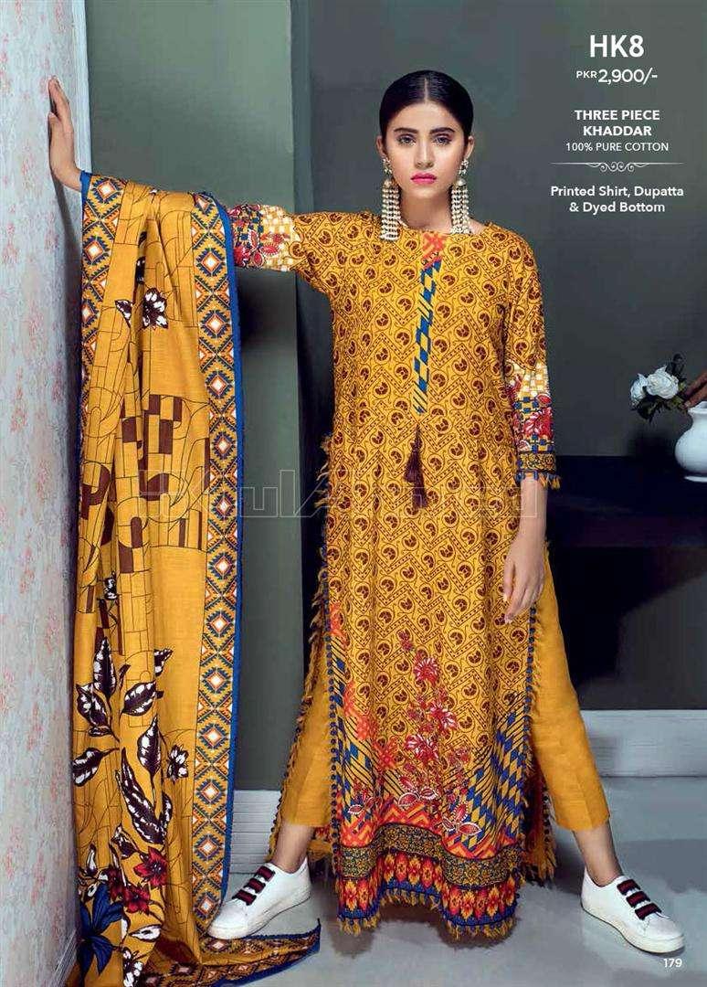 Gul Ahmed Printed Khaddar Unstitched 3 Piece Suit GL17W HK8