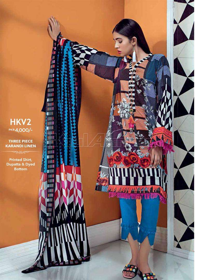 Gul Ahmed Embroidered Linen Unstitched 3 Piece Suit GL17W HKV2