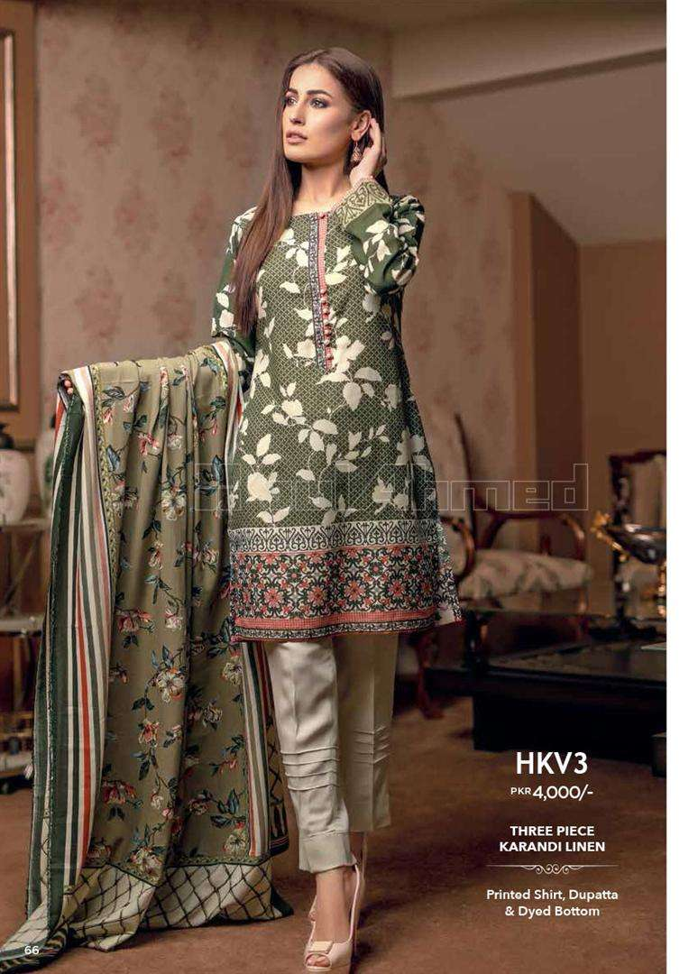 Gul Ahmed Embroidered Linen Unstitched 3 Piece Suit GL17W HKV3