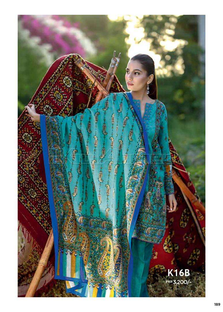 Gul Ahmed Embroidered Linen Unstitched 3 Piece Suit GL17W K16B