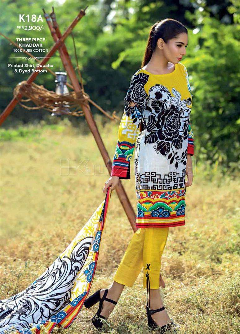 Gul Ahmed Embroidered Linen Unstitched 3 Piece Suit GL17W K18A
