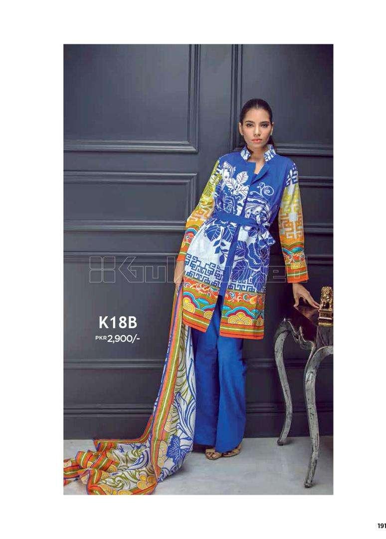 Gul Ahmed Printed Khaddar Unstitched 3 Piece Suit GL17W K18B
