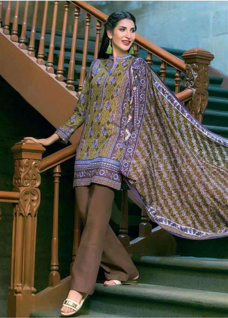 Gul Ahmed Embroidered Linen Unstitched 3 Piece Suit GL17W K19B