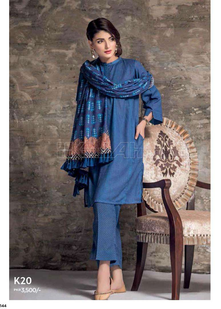 Gul Ahmed Embroidered Linen Unstitched 3 Piece Suit GL17W K20