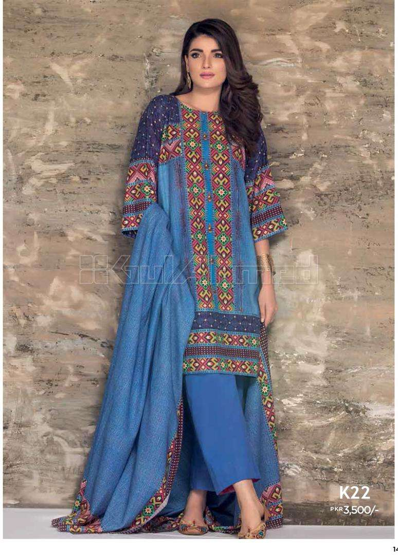 Gul Ahmed Embroidered Linen Unstitched 3 Piece Suit GL17W K22