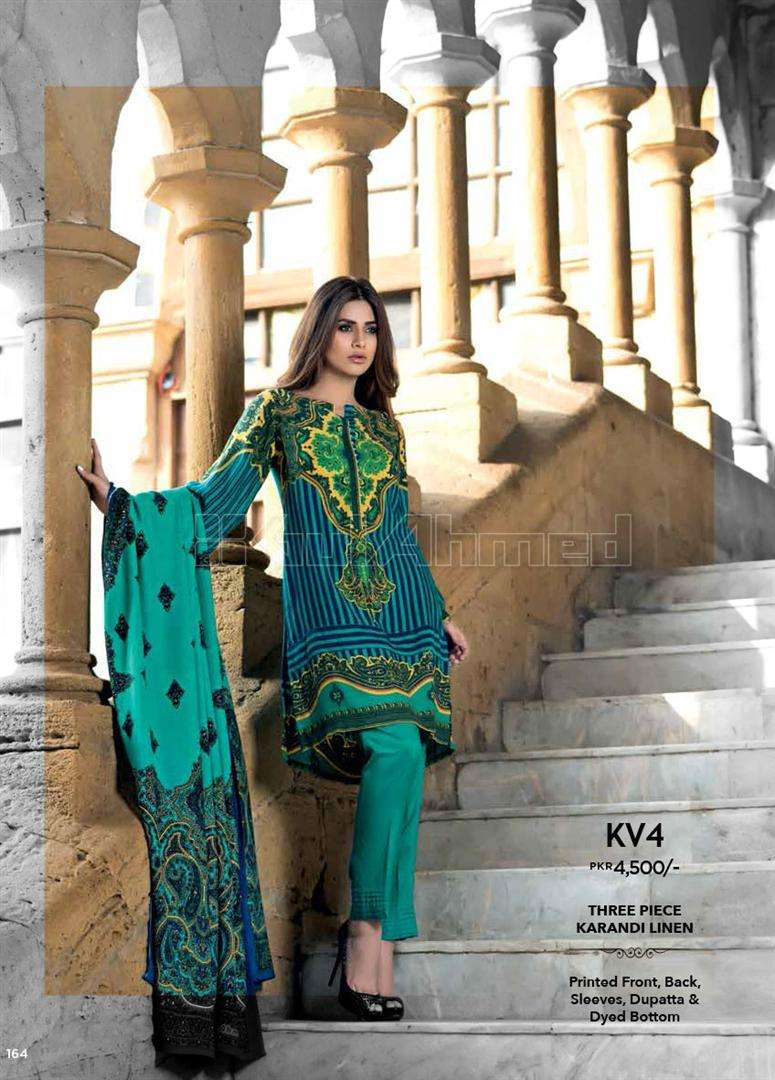 Gul Ahmed Embroidered Linen Unstitched 3 Piece Suit GL17W KV4