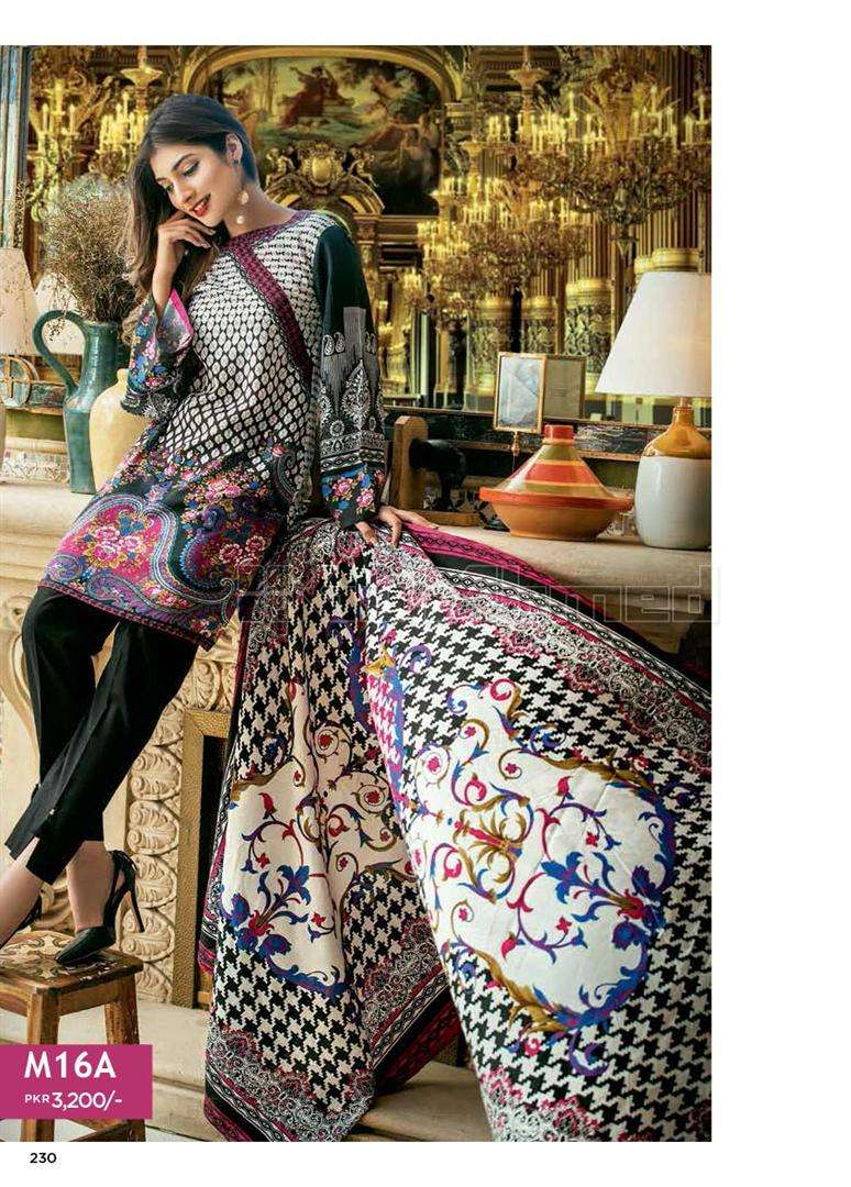 Gul Ahmed Embroidered Linen Unstitched 3 Piece Suit GL17W M16A