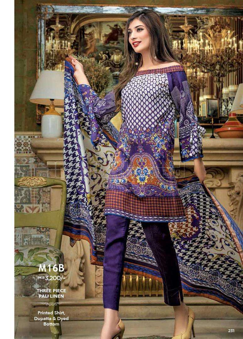 Gul Ahmed Embroidered Linen Unstitched 3 Piece Suit GL17W M16B