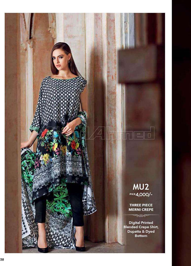 Gul Ahmed Printed Crep Unstitched 3 Piece Suit GL17W MU2