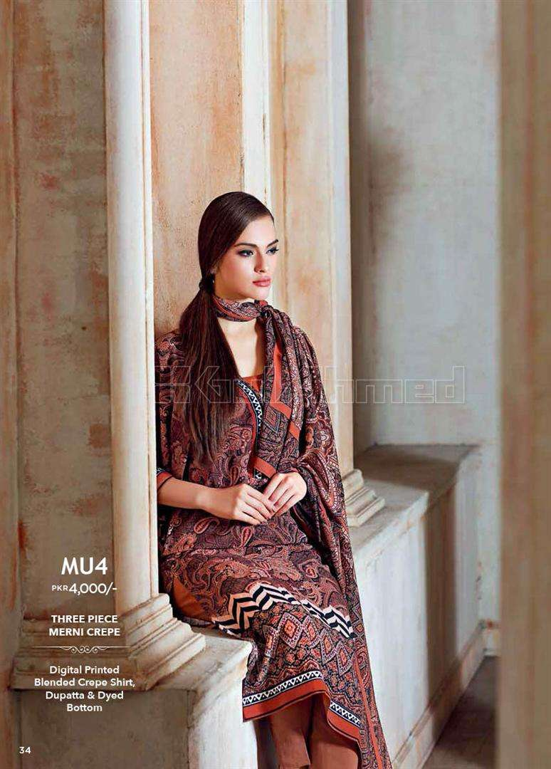Gul Ahmed Embroidered Linen Unstitched 3 Piece Suit GL17W MU4