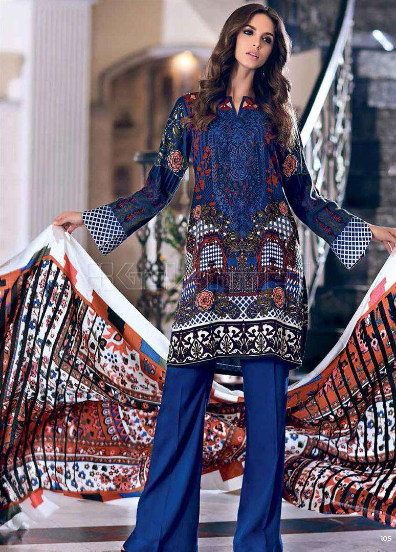 Gul Ahmed Embroidered Pashmina Unstitched 3 Piece Suit GL17W P76