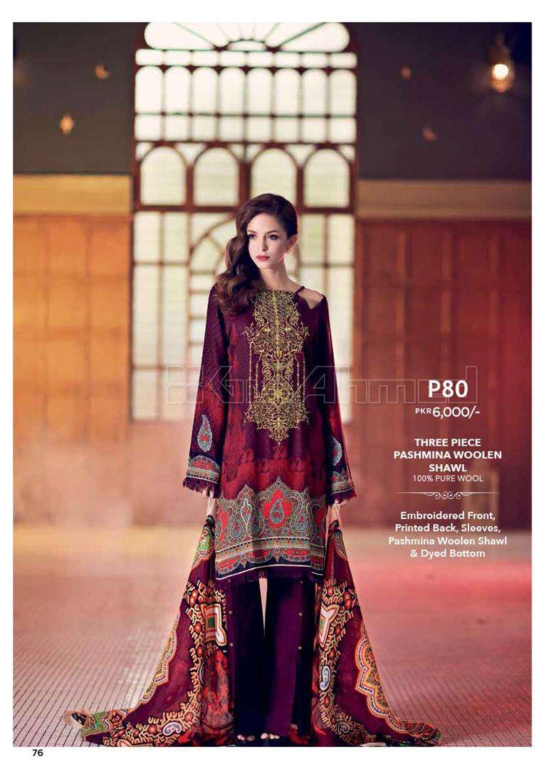 Gul Ahmed Embroidered Linen Unstitched 3 Piece Suit GL17W P80