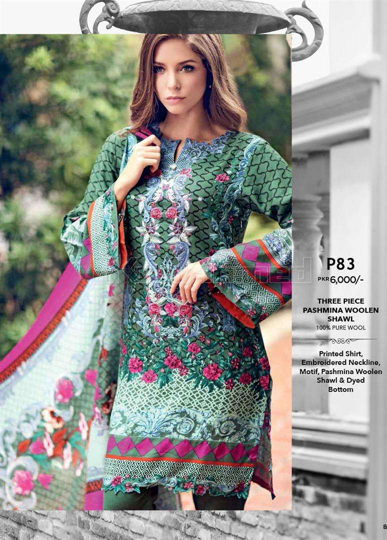 Gul Ahmed Embroidered Pashmina Unstitched 3 Piece Suit GL17W P83