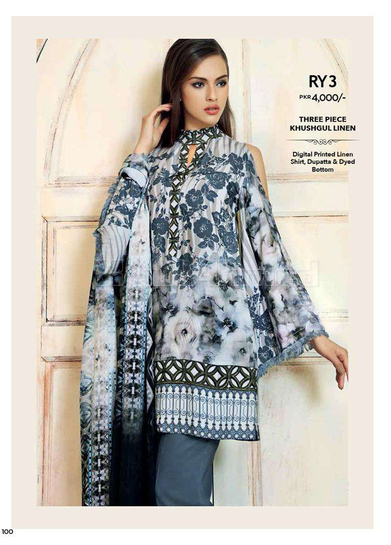Gul Ahmed Embroidered Linen Unstitched 3 Piece Suit GL17W RY3