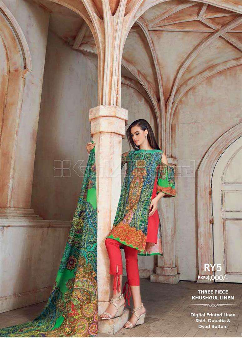 Gul Ahmed Printed Linen Unstitched 3 Piece Suit GL17W RY5