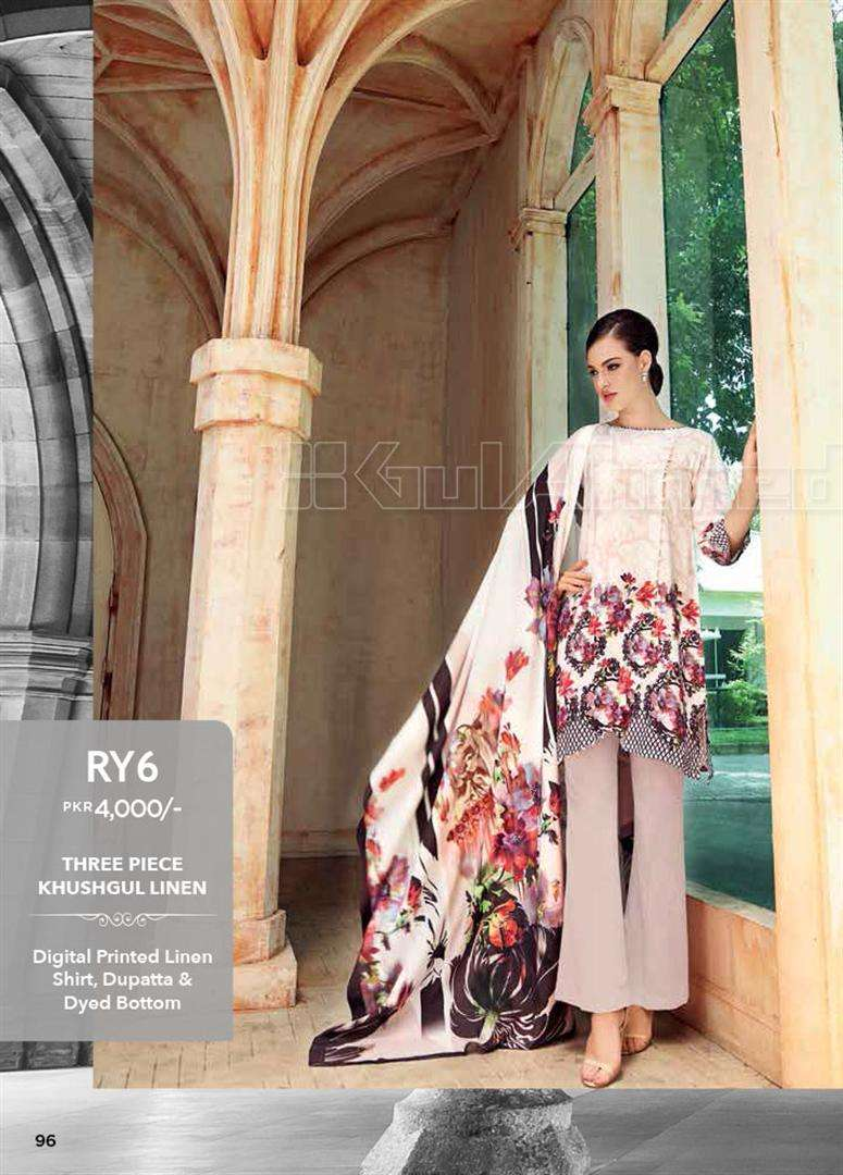Gul Ahmed Embroidered Linen Unstitched 3 Piece Suit GL17W RY6