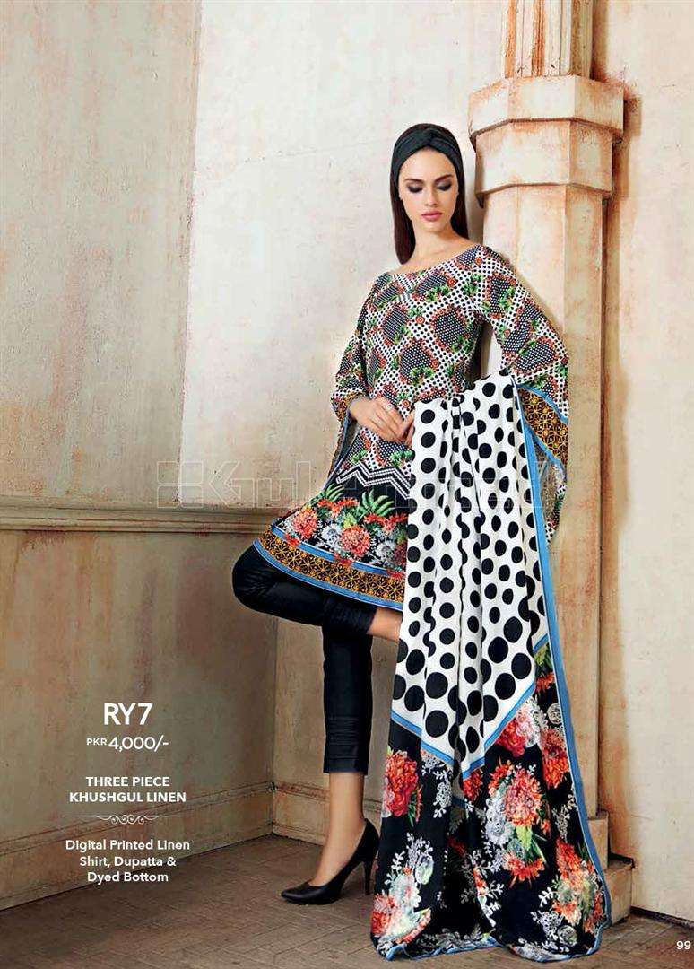 Gul Ahmed Embroidered Linen Unstitched 3 Piece Suit GL17W RY7