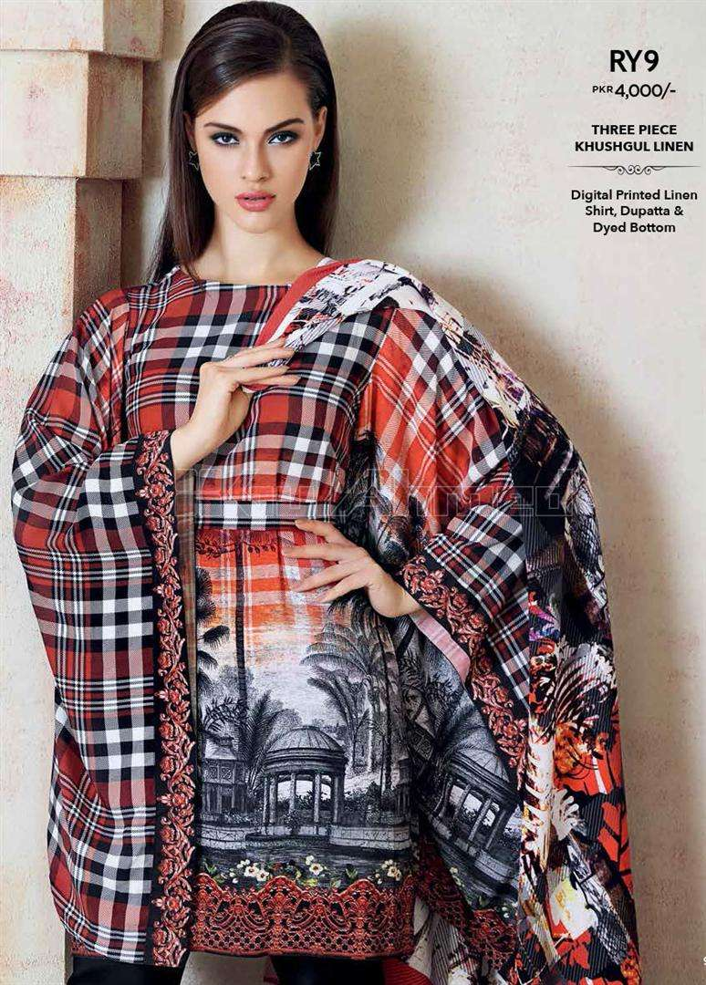 Gul Ahmed Embroidered Linen Unstitched 3 Piece Suit GL17W RY9
