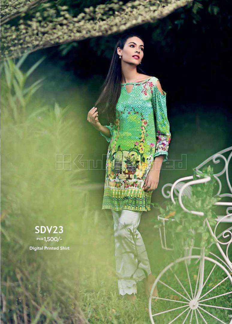 Gul Ahmed Embroidered Linen Unstitched Kurtis Suit GL17W SDV23