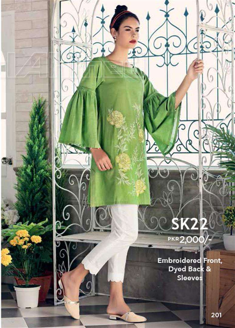 Gul Ahmed Embroidered Linen Unstitched Kurtis Suit GL17W SK22