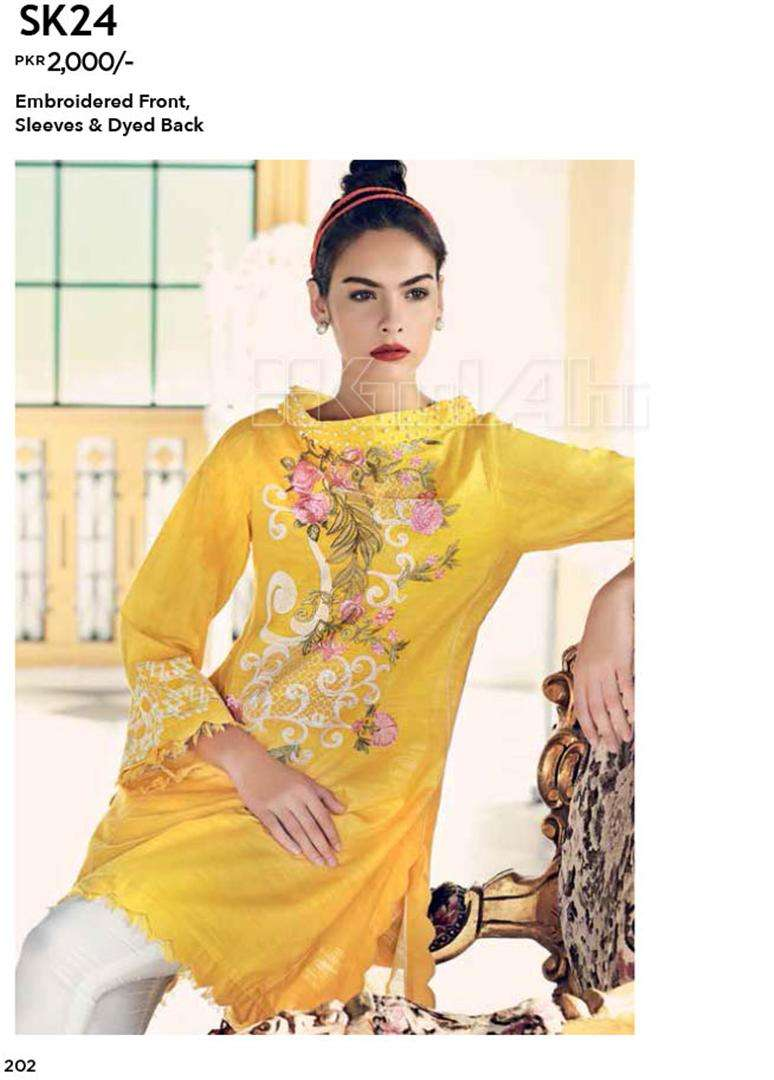 Gul Ahmed Embroidered Linen Unstitched Kurtis Suit GL17W SK24