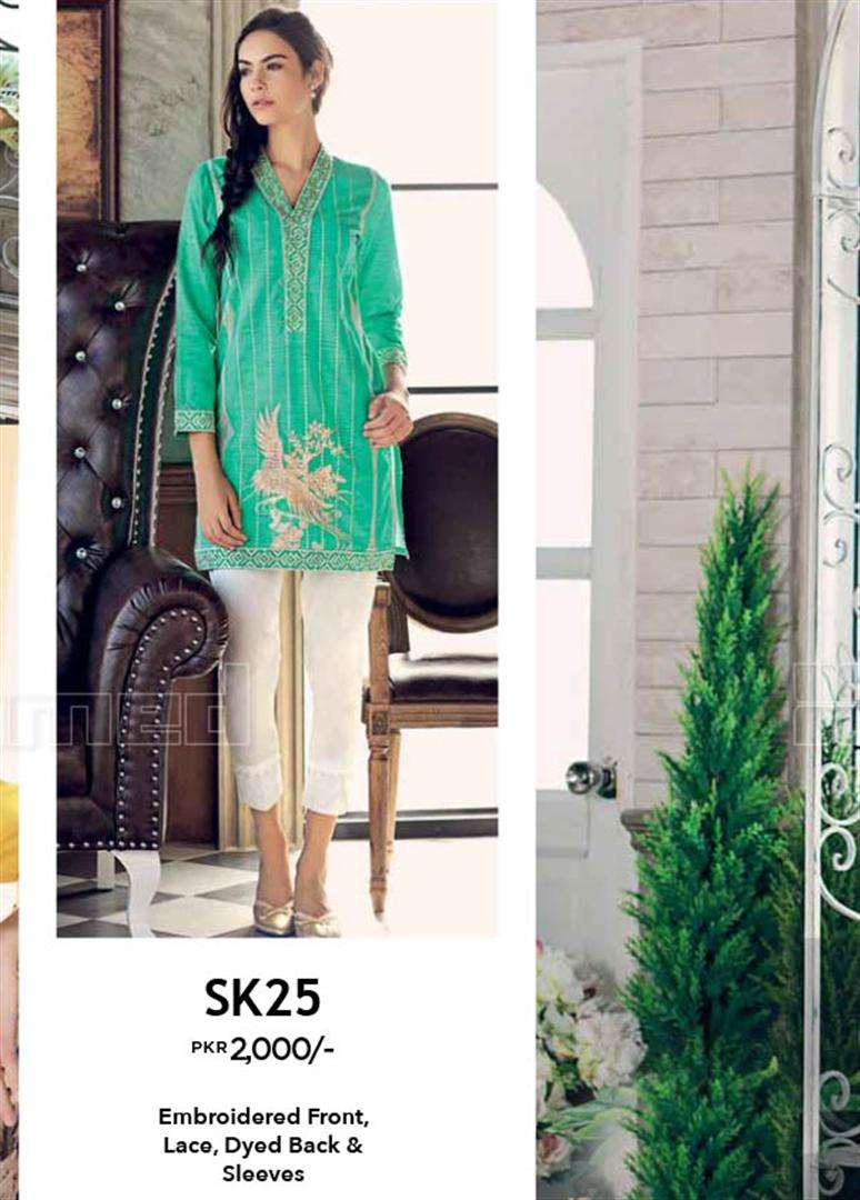 Gul Ahmed Embroidered Linen Unstitched Kurtis Suit GL17W SK25
