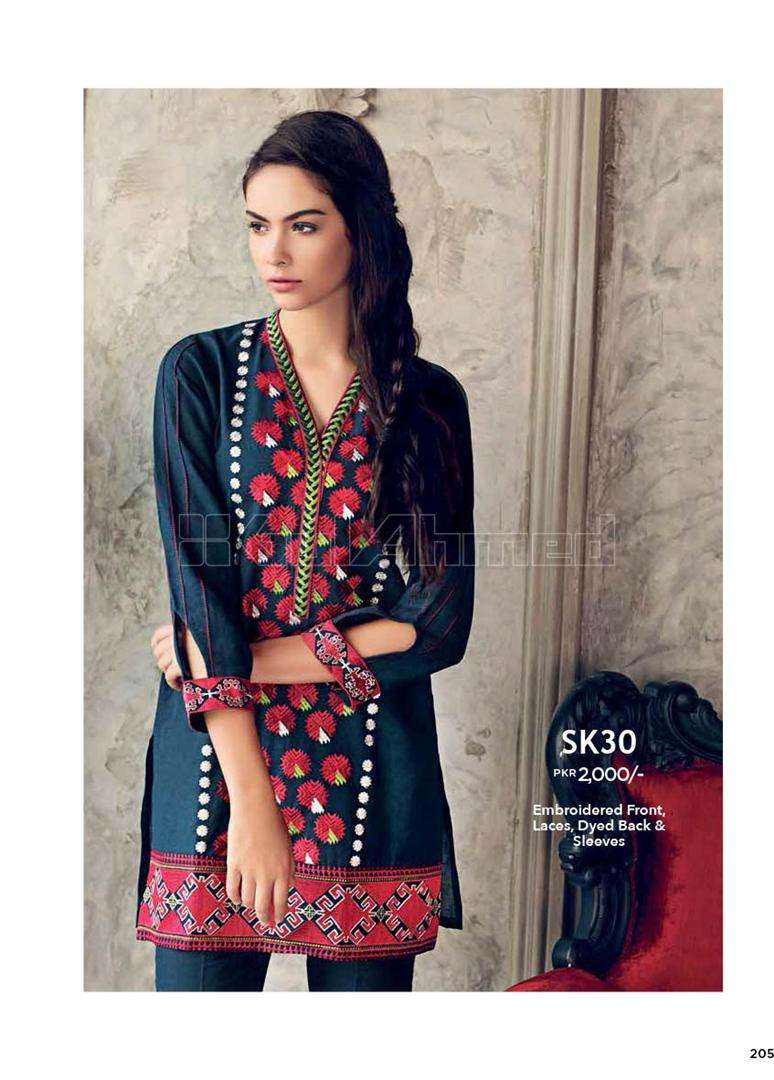 Gul Ahmed Embroidered Linen Unstitched Kurtis Suit GL17W SK30
