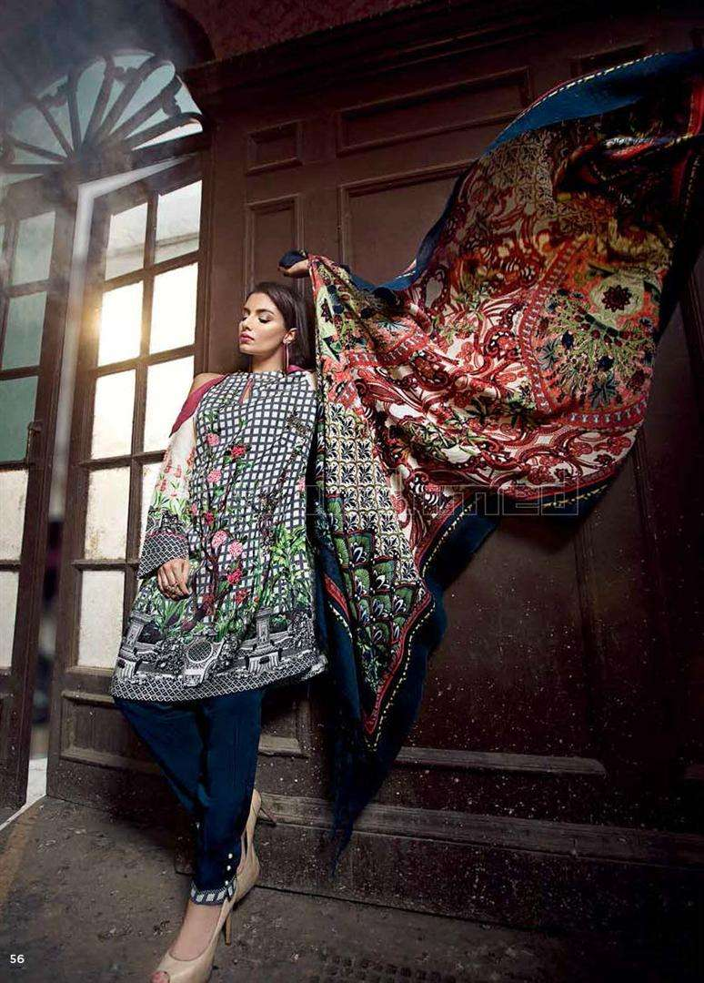 Gul Ahmed Embroidered Linen Unstitched 3 Piece Suit GL17W SW34