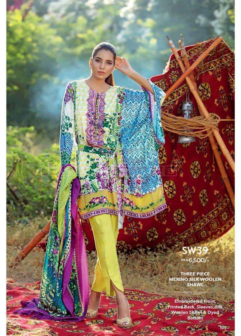 Gul Ahmed Embroidered Marina Unstitched 3 Piece Suit GL17W SW39