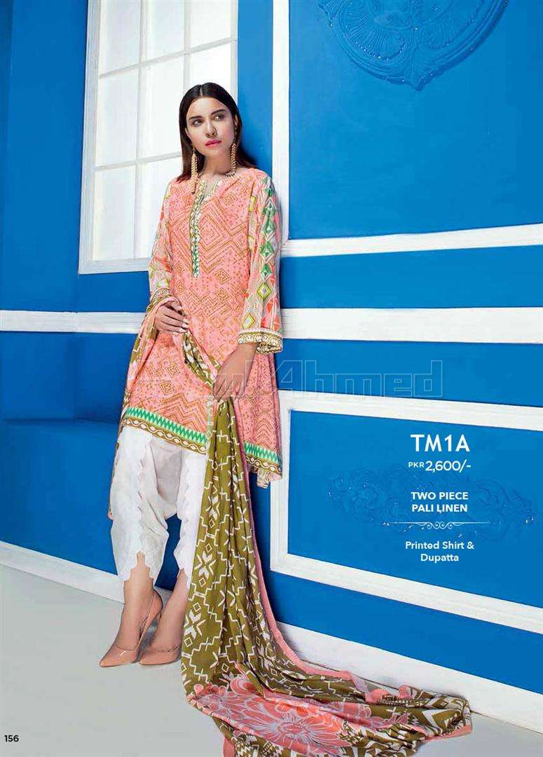 Gul Ahmed Embroidered Linen Unstitched 2 Piece Suit GL17W TM1A