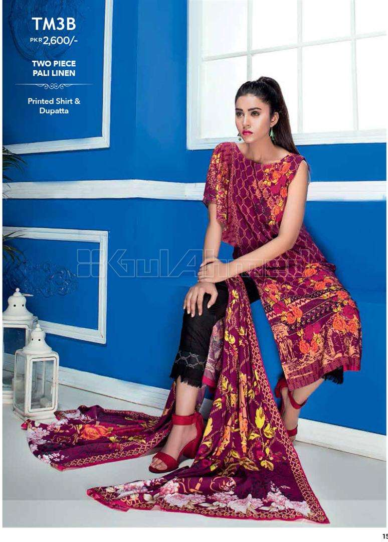 Gul Ahmed Embroidered Linen Unstitched 2 Piece Suit GL17W TM2B