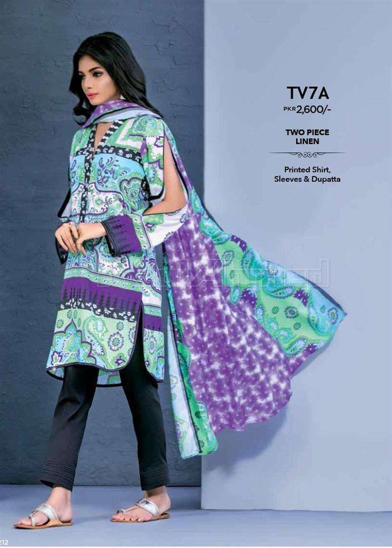 Gul Ahmed Embroidered Linen Unstitched 2 Piece Suit GL17W TV7A